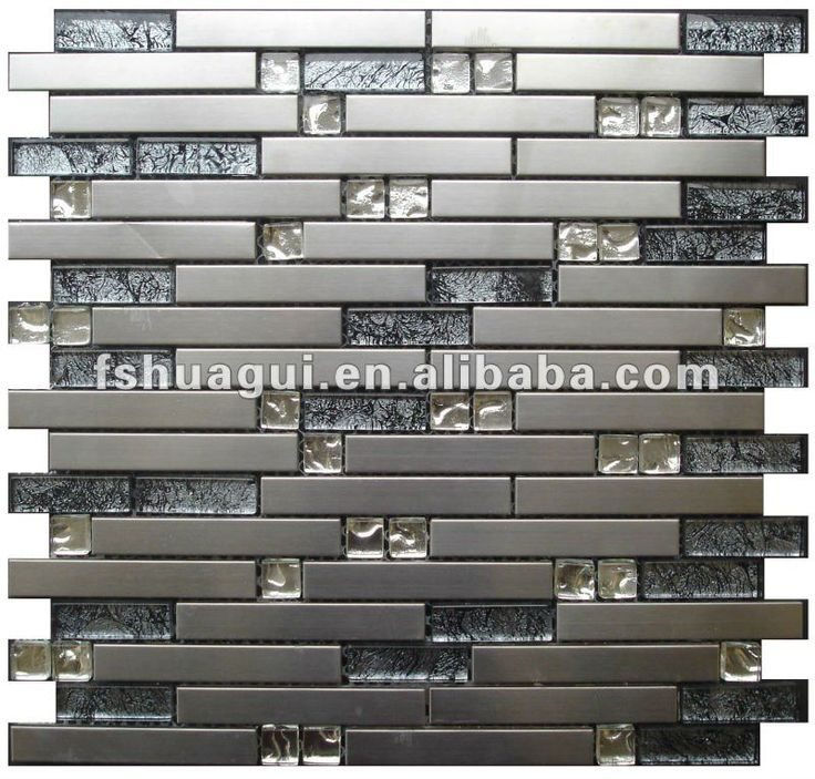 Hg Js8018 Black Foil Glass Mix Silver Matte Strip 304 Stainless Steel Backsplash Mosaic Tiles Buy Stainless Steel Backsplash Stainless Steel Tiles