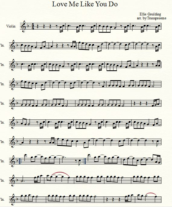Musical Mania: Love Me Like You Do by Ellie Goulding Violin Sheet Music                                                                                                                                                     More