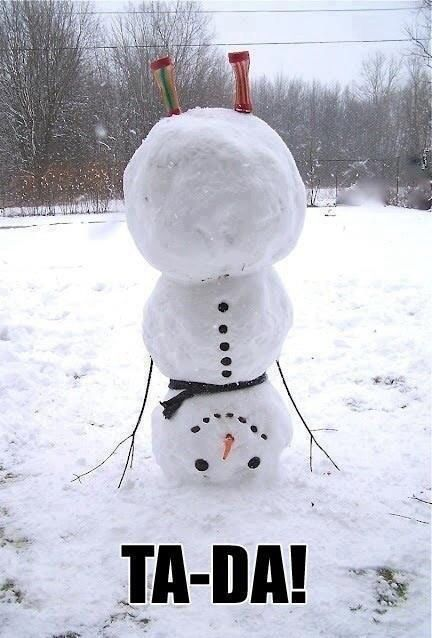 Building snowmen, love how they mixed it up by making it do a hand-stand
