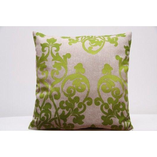 Béžovo zelená dekoračná obliečka na vankúš