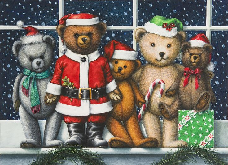 Christmas Teddies Painting by Lynn Bywaters