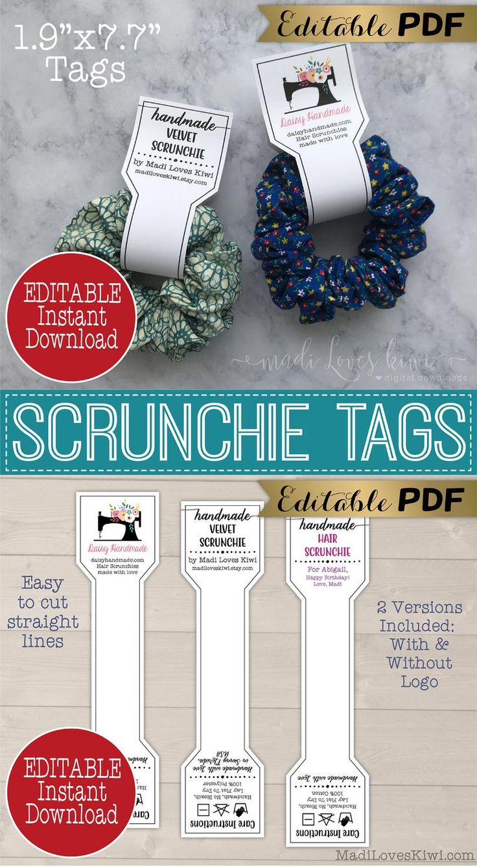 EDITABLE Hair Scrunchie Tag Printable Handmade Product