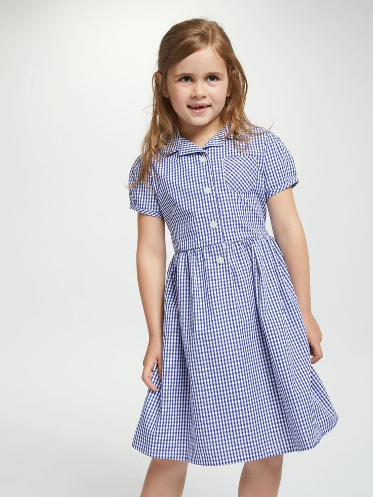 New Girl/'s Pleated Green Gingham Cotton Easy Iron Teflon School Uniform Dress