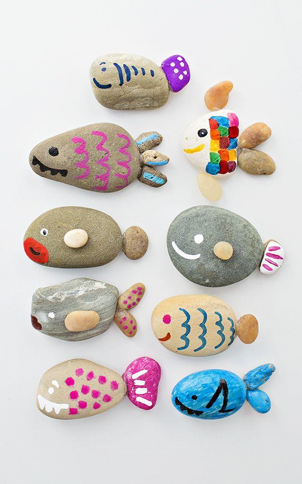 Cute Rock Fish Craft. Fun invitation to create ocean summer craft for kids.