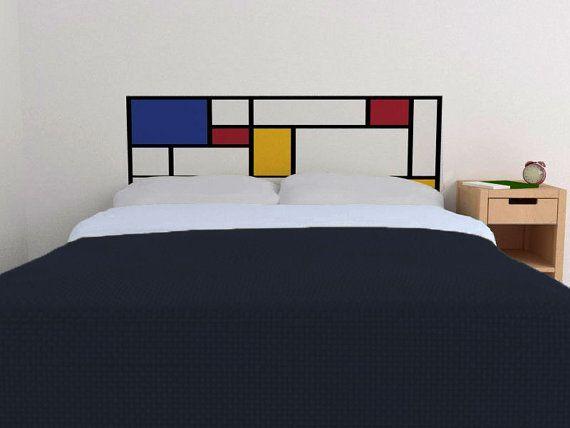 Mondrian Headboard Decal in Primary Colors - Vinyl wall sticker decal - De Stijl Style headboard