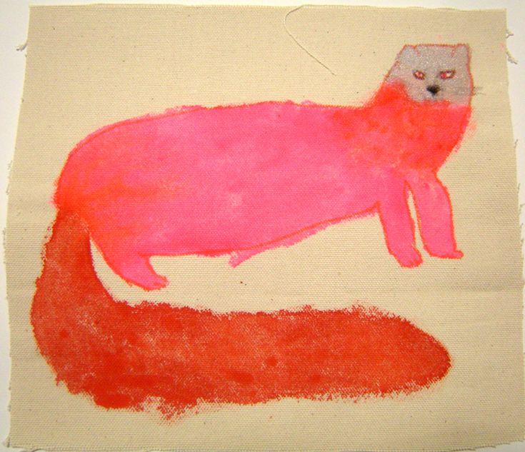 テン(冬毛)malevolent pink cat creature by artist miroco machiko found via the art room plant blog