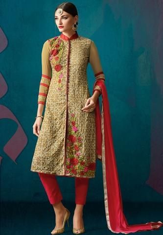 Beige Georgette Buy Salwar Kameez Online India ,Indian Dresses - 1