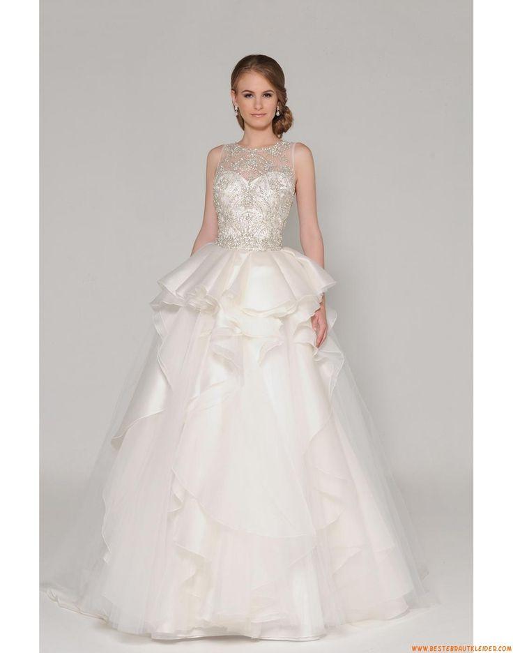 2015 A-linie Außergewöhnliche Luxuriöse Brautkleider aus Organza mit Perlenstickerei