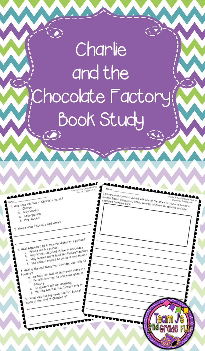 Book Study for Charlie and the Chocolate Factory. Includes Quizzes for Every 3 Chapters, Answer Key, and Written Responses. Great for Grades 2-4.