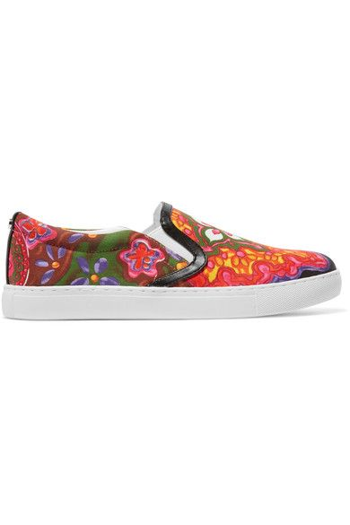 Sam Edelman - Pixie Faux Leather-trimmed Printed Canvas Slip-on Sneakers - Pink - US