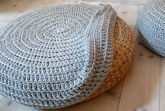 ooOOoh! Just bought a few of these stools the other day, the covers look great. Crochet stool cover by lacasadecoto on Etsy.