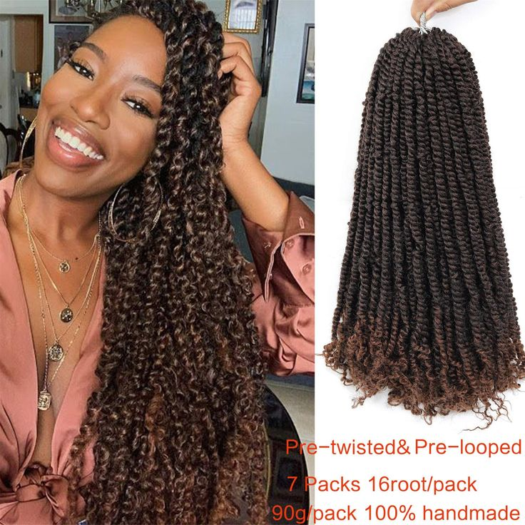 Ago 7 Packs PreLooped Passion Twist Hair For Braids 16