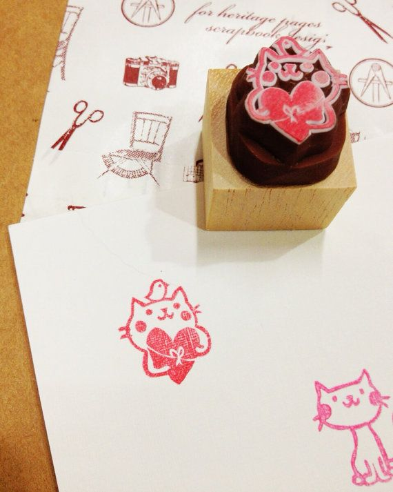 gift cat rubber stamp by DeerdayShop
