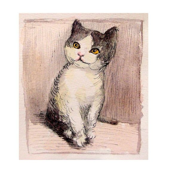 Kitten Original watercolor painting ink painting 6x5inch by deodea, $15.00
