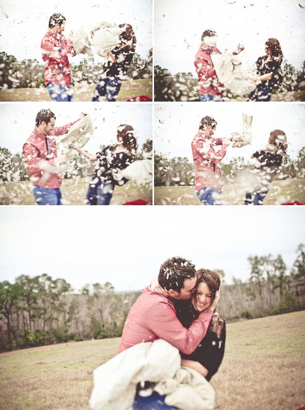 Pillow fight photo shoot for an engagement, How cool would this be for a fun family session or anniversary pictures! So doing this someday!