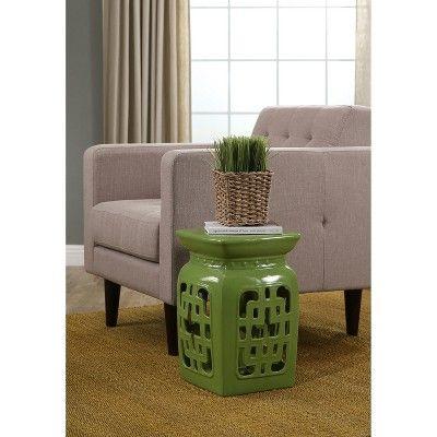 Meester Lime Ceramic Garden Stool   Green   Abbyson