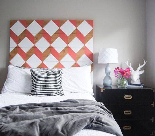 Make This DIY Geometric Planked Wood Headboard For Under $100 — The Weathered Door