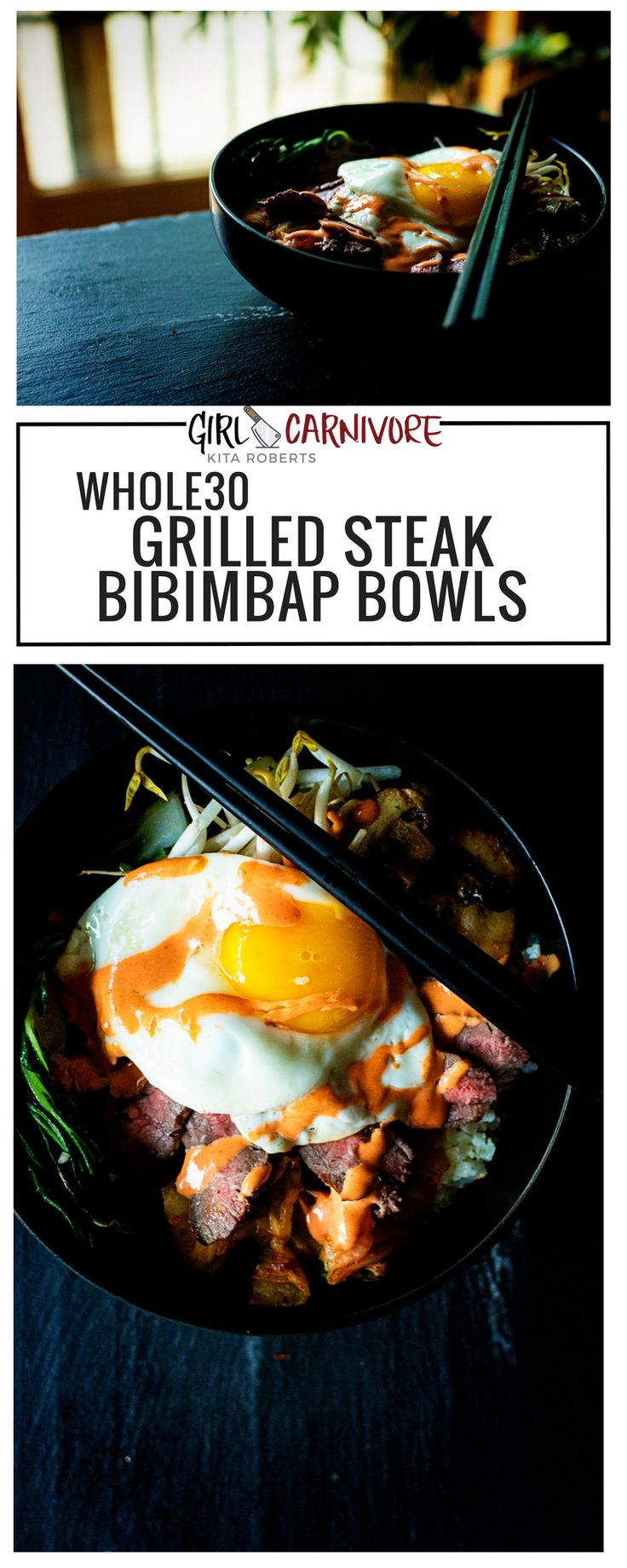 Gotta try these whole 30 approved Grilled Steak Bibimbap Bowls