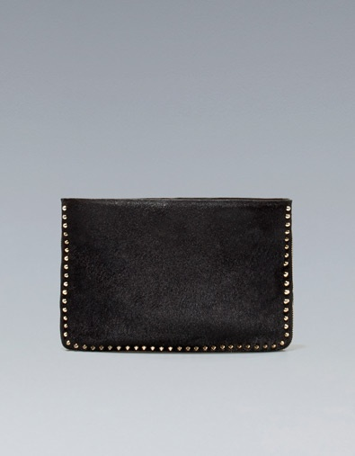 STUDDED LEATHER CLUTCH: Ponies Skin, Studs Ponies, Skin Clutches, Zara United Kingdom, Leather Clutches, Studs Leather, Clutches Bags, Studded Leather, Clutch Bags