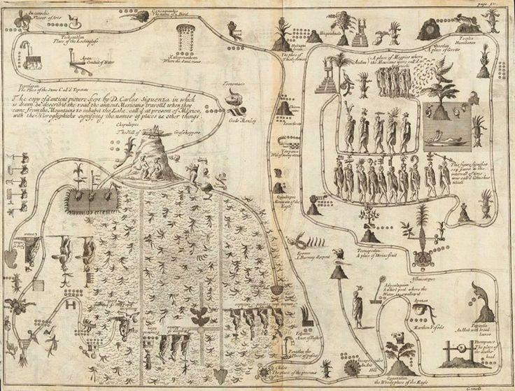 mapa antiguo de mexico incluido en diario de Giovanni Francesco Gemelli Careri