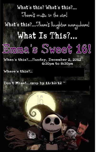 Emma's Nightmare Before Christmas Sweet 16