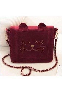 GrabMyLook Suede Cat Face Rigid Case Purse Metal Chain Strap Mini Handbag Bag