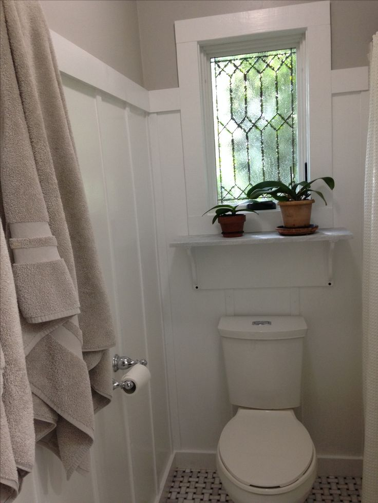 Casement window above the toilet in the bathroom.  I added the faux leading and …   – Life on Leslie