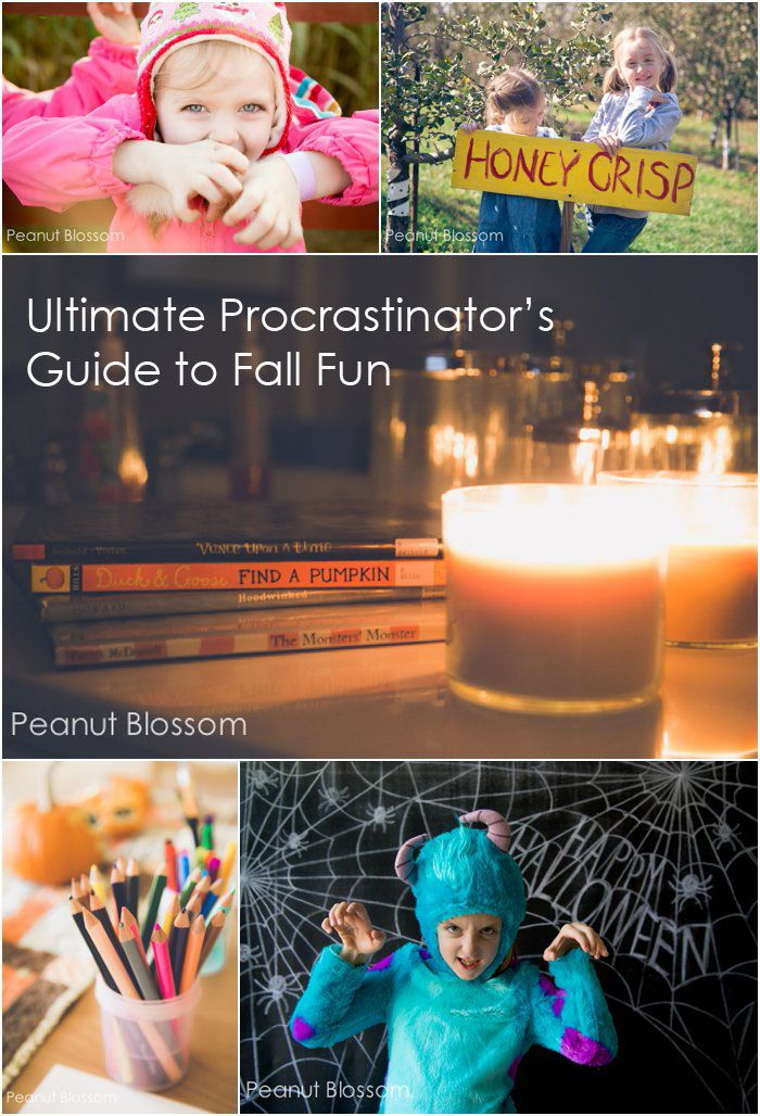 Be prepared to be unprepared! The Ultimate Procrastinator's Guide to Fall Fun: Awesome ideas for last-minute celebrations that take minutes to throw together. Fool your kids into thinking you're prepared and the coolest mom ever. What was your favorite fall activity in the last month??