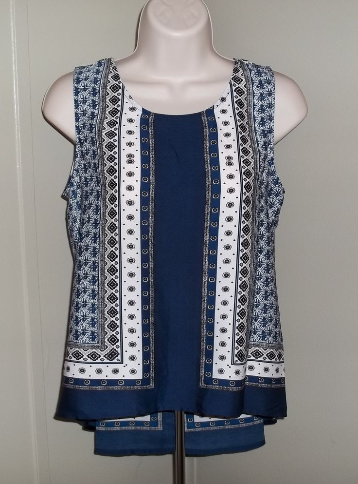 """""""Alfie Scarf Print Sleeveless Blouse"""". Love the color and vertical pattern. Not sure if the armholes are too large and if I will like the back."""