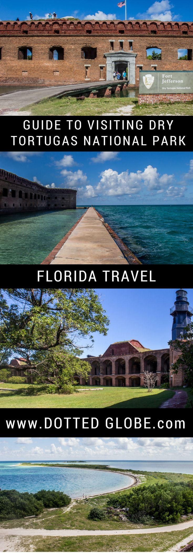 Visit Fort Jefferson and Dry Tortugas National Park in Florida. Take the Dry Tortugas ferry or seaplane from Key West. Snorkel, swim, tour Fort Jefferson, walk the moat and have a perfect day trip or camping trip in the beautiful waters of the Dry Tortugas.