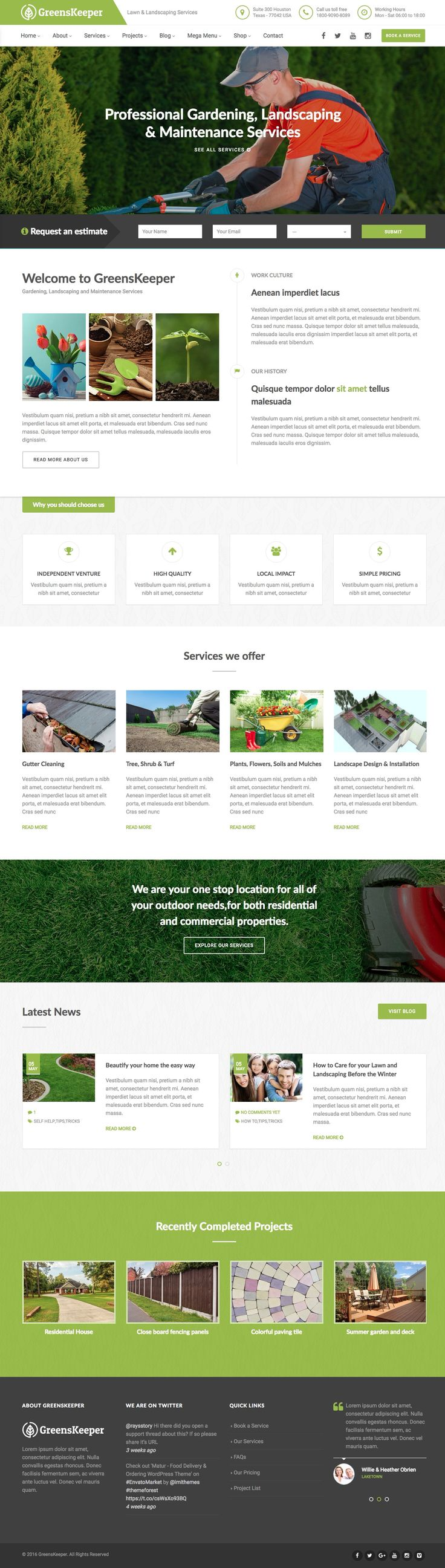 GreensKeeper is a fully functional WordPress theme beautifully crafted & developed for gardening and landscaping services websites but it could also served well for corporate business website. Visit: catchytheme.com for more example
