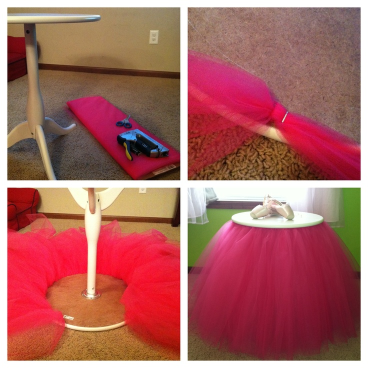 Tutu table DIY: an IKEA table, tulle and a staple gun; cut the tulle and fold, twist and stable on in sections; trim the ends to make it even; perfect for a little girl's room!
