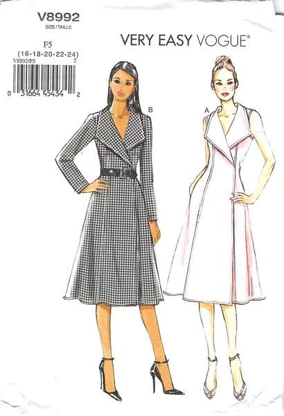 Lined, wrap dress (fitted through bust) has front extending into collar, princess seams, inside ties, hook and eye closing. Narrow hem and topstitching. B: stitched hem on sleeves.