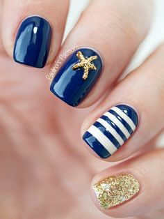 gold, navy & white striped Sailor Nails with Starfish Stud