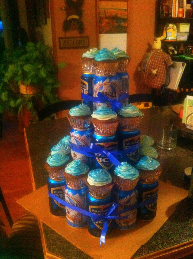 Beer can cake with cupcakes I made