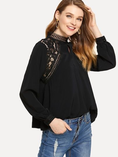 718ca1398327 Solid Contrast Lace Blouse #shein #sheinside #dresses #fashion  #cocktail_dresses, #partydresses, dresses,cocktail dresses, party dresses,  womens clothes ...