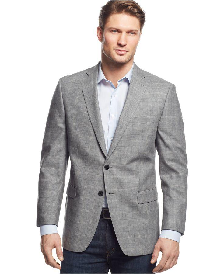Calvin Klein Grey Windowpane SlimFit Sport Coat Blazers