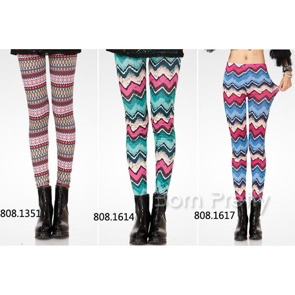 $7.27 Stripe & Wave Tights Leggings Trip Tribal Inspired Soft Leggings - BornPrettyStore.com