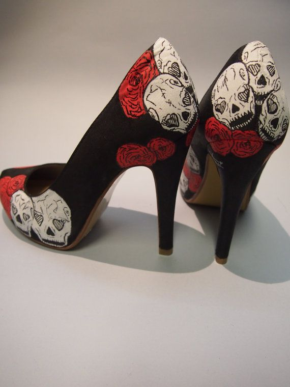 Hey, I found this really awesome Etsy listing at http://www.etsy.com/listing/123623706/hand-painted-high-heels-skulls-and-roses