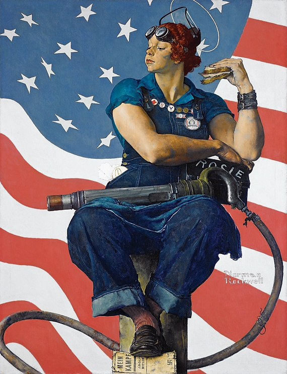 Rosie the Riveter | Norman Rockwell | 1943 - the original Rosie the Riveter...notice her foot resting on a copy of Hitler's Mein Kampf.