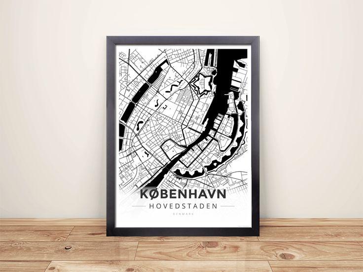 framed map poster of copenhagen denmark modern black ink copenhagen map art
