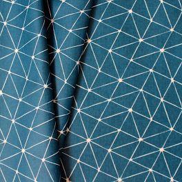 Katoen cretonne met geometrische print op blauwgroene achtergrond