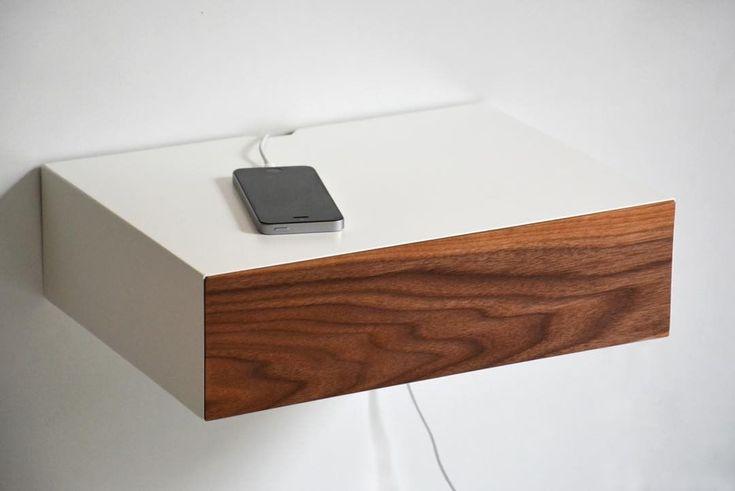 """12 kedvelés, 1 hozzászólás – MyBetterShelf (@mybettershelf) Instagram-hozzászólása: """"Floating nightstand with walnut drawer and custom hole for phone cable. Available here:…"""""""
