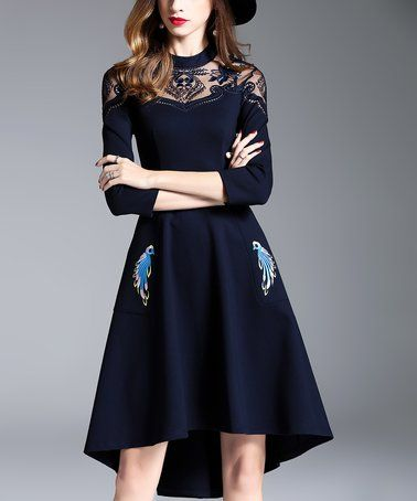 Another great find on #zulily! Navy Lace-Contrast A-Line Dress #zulilyfinds
