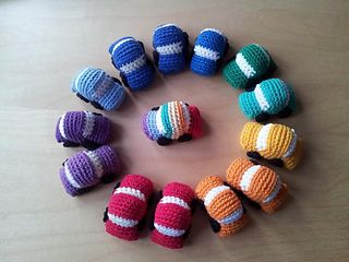 These Tiny Crochet Cars work up in a jiffy. They are perfect for stocking-stuffers and take-along toys. And don't for a moment suppose that they are just for boys! I've seen a few girls' faces light up when they see these :)