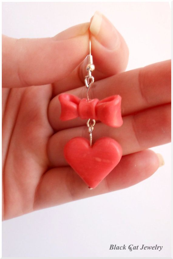 Cute heartshaped polymer clay earrings with by BlackCatJewelery, £5.00