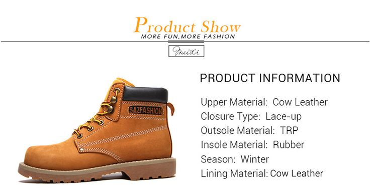 meixi brand brown winter men boots 38-44 genuine leather men's winter yellow work safety male boots M17092301-1