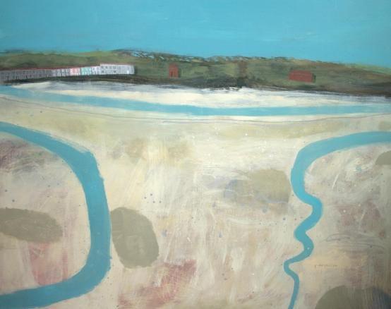Elaine Pamphilon, riverbeds hayle estuary mixed media on canvas 120 x 150 cm