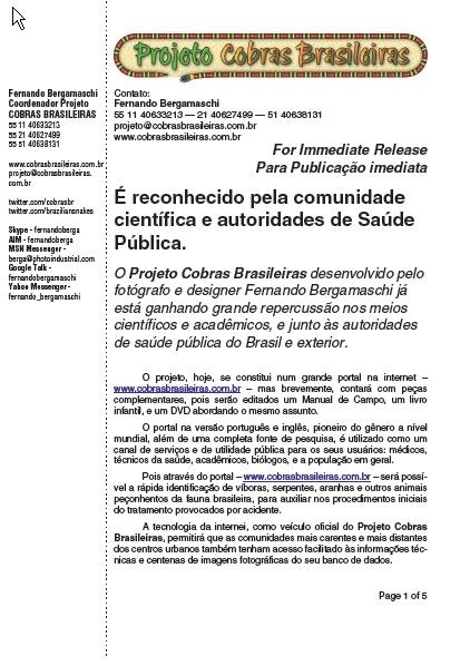 O Projeto COBRAS BRASILEIRAS é reconhecido pela comunidade científica e autoridades de Saúde Pública.