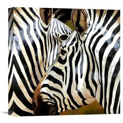 "Global Gallery 'Zebra Close-Up' by Arcobaleno Painting Print on Wrapped Canvas Size: 18"" H x 18"" W x 1.5"" D"